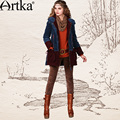Artka Women'S Fashion Autumn Winter Vintage Hooded Long Sleeve Patchwork Embroidery Midi Outerwear Coat MA10947D