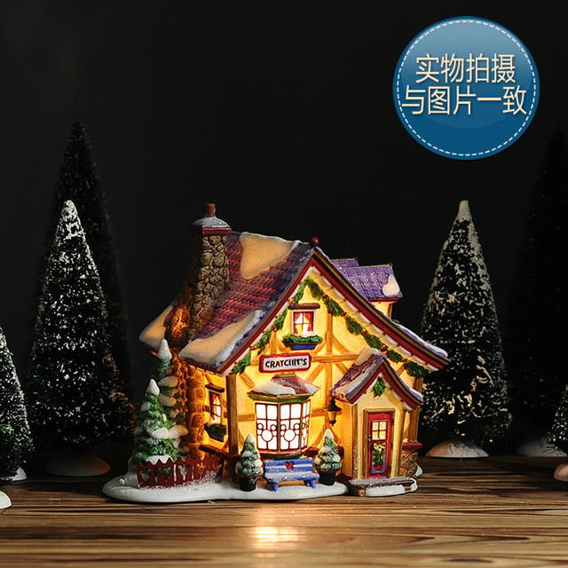 American Decoration House North Pole Series Mickeys Cratchits Cottage Hand Painted Night Light