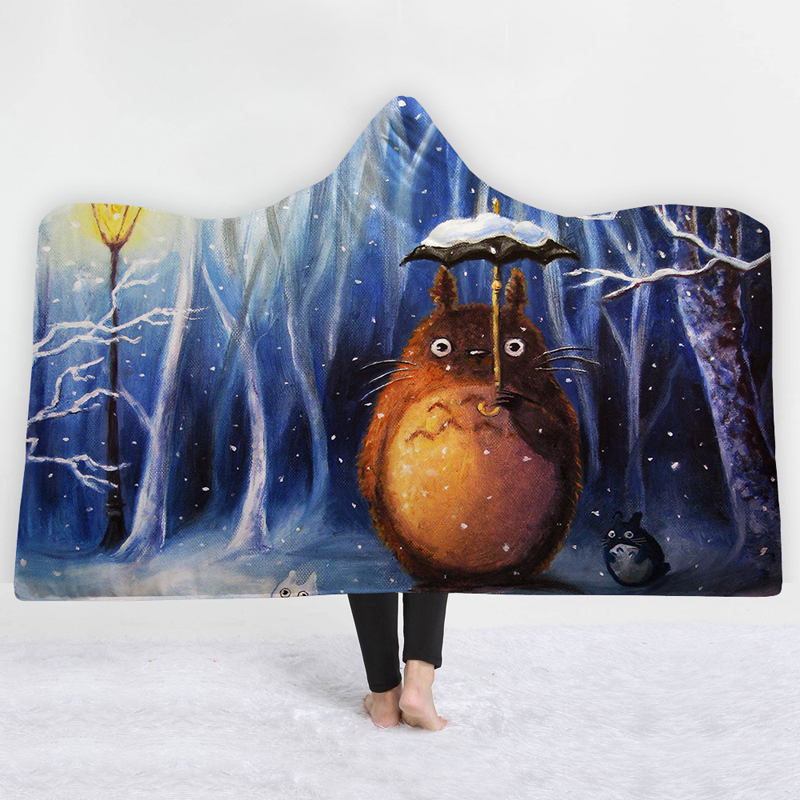Totoro snow 3D Hooded Blankets