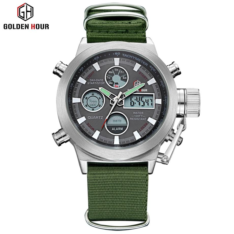 Image 5 - GOLDENHOUR Sport Men Wristwatch Fashion Men Quartz Watch Nylon Strap Week Display Army Military LED Clock Relogio Masculino-in Quartz Watches from Watches