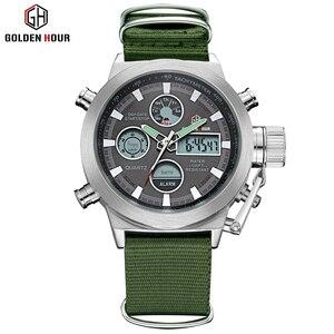 Image 5 - GOLDENHOUR Sport Men Wristwatch Fashion Men Quartz Watch Nylon Strap Week Display Army Military LED Clock Relogio Masculino