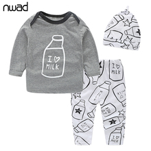 Baby Boys Clothes Set 2017 New Spring Autumn Newborn Baby Girl Clothing Long Sleeve T Shirt +Pant + Hat 3PCS/Set FF034(China)