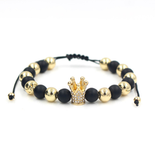 Zircon Fashion New Products Hot Charm Accessories Mens Jewelry Cubic  Crown Bead Braided Lace Handmade Bracelet