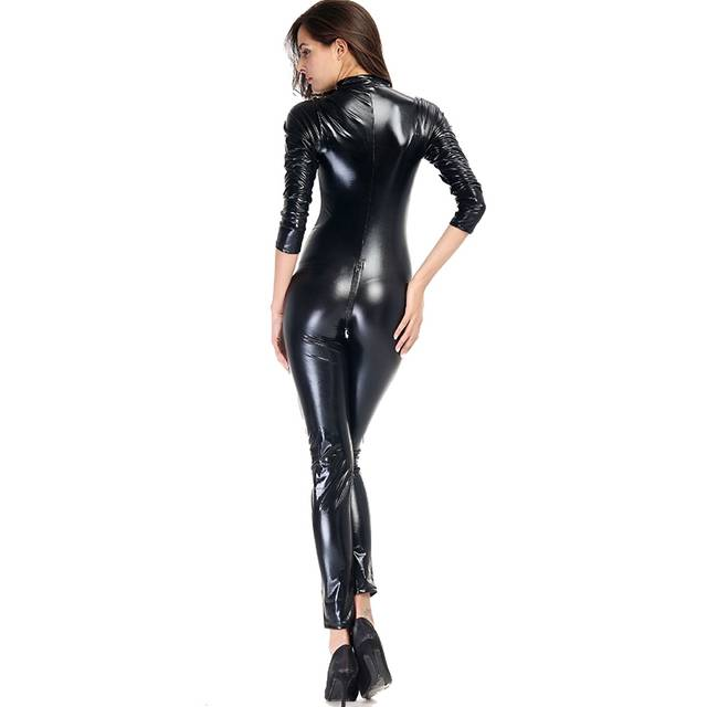 99dd6ad69b2f Wholesale Wetlook Women Tight Jumpsuit Sexy Black Hollow Bust Vinyl Leather  Long Sleeve Zip Smooth Catsuit