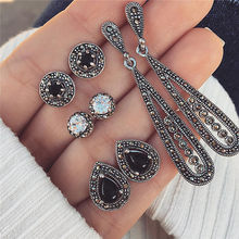 Modyle Vintage Water Drop Crystal Earrings Set For Woman Black Stone Antique Silver Color Geometric Round Stud Earrings Jewelry(China)
