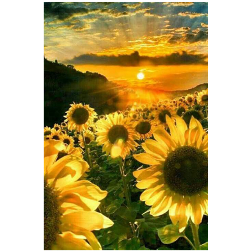 5D DIY full round diamond painting embroidery sunflower sunset landscape cross stitch diamond mosaic rhinestone home decoration in Diamond Painting Cross Stitch from Home Garden