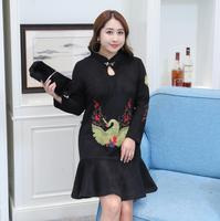 Women S Autumn Winter One Piece Mermaid Dress Lady S Plus Size Embroidery Chinese Dress XL