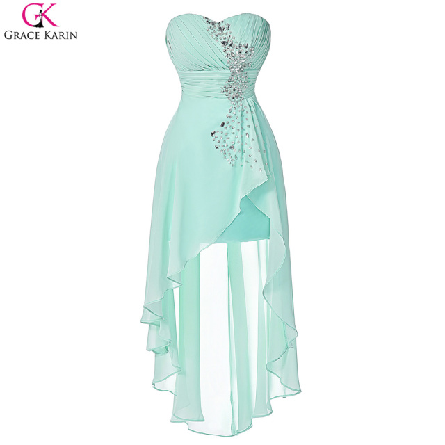 e1888d9bf311 Grace Karin Bridesmaid Dresses Turquoise Bridemaid Dresses Pink Short Front  Long Back Formal Gowns Cute Blue Wedding Party Dress