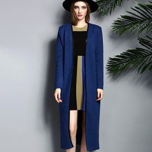 Autumn And Winter New Hot Super Long Cashmere Coat  V-neck Knitted Cardigan Slim Sweater Casual Dress Genuine Free Shipping