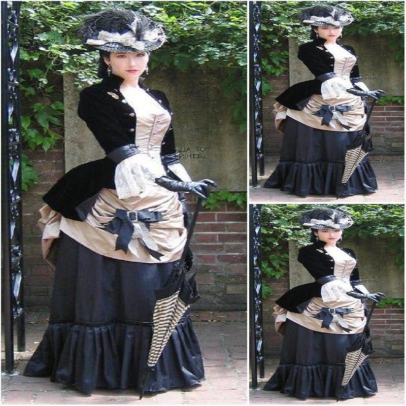 История! клиент сделал роскошные черные винтажные костюмы Ренессанс платья стимпанк платье Готический Косплей Хэллоуин платья C 1184