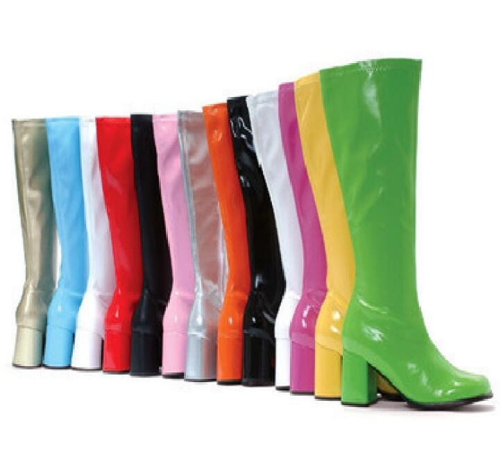 Moraima Snc Hot Selling Candy Color Patent Leather High Heel Boots Woman Round Toe Thick Heels Knee High Shoe Big Size Boots rolsen rl 42d1307ft2c