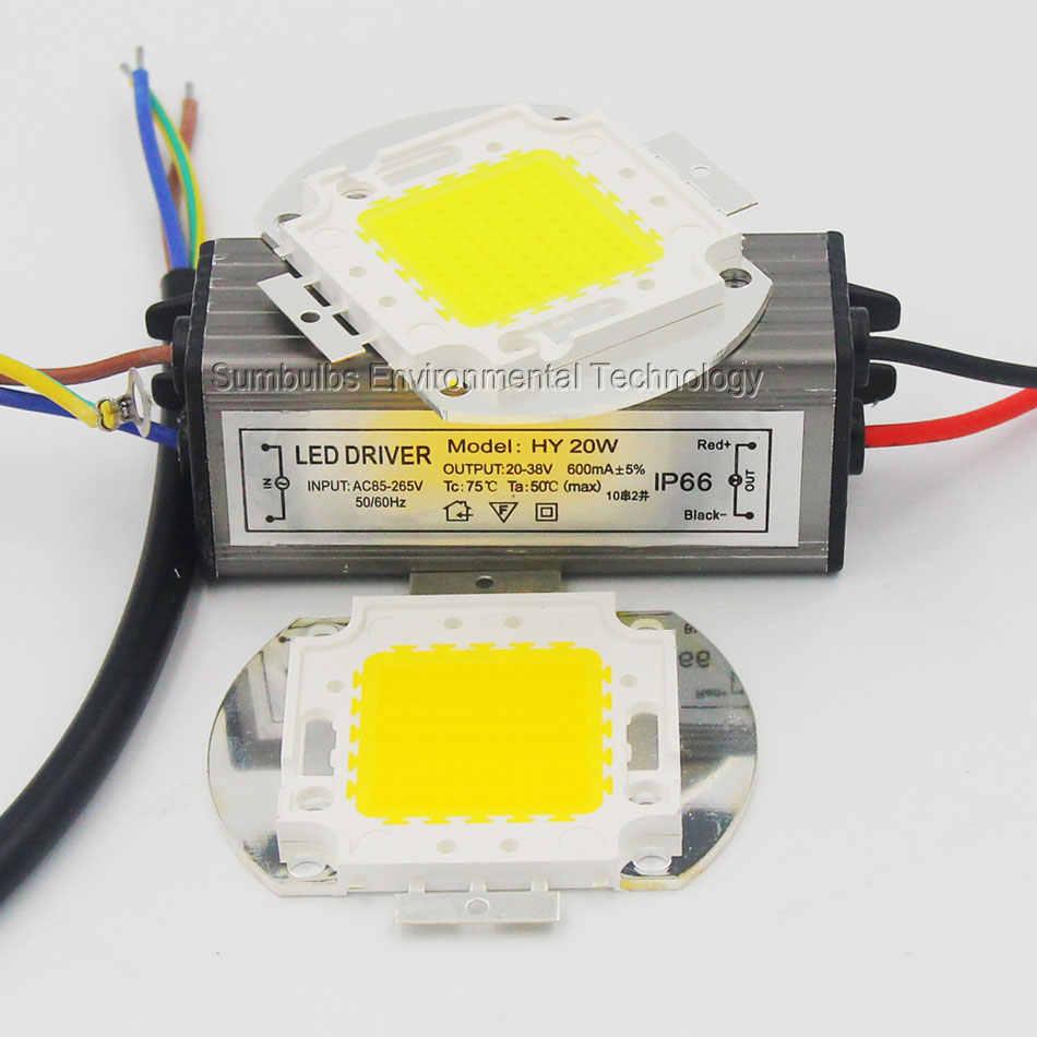 Полный ватт интегрированный AC COB светодиодный светильник 10 Вт 20 Вт 30 Вт 50 Вт 100 Вт светодиодный источник света с драйвером для DIY прожектор Теплый Холодный белый