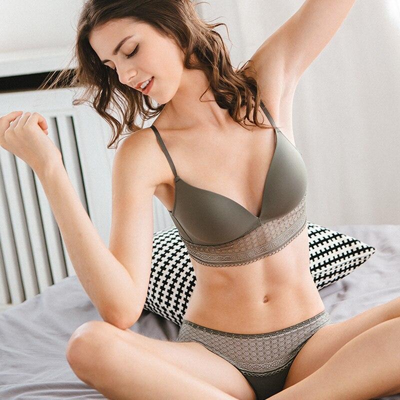 Women Sexy Glossy Bra Sets Fashion V neck 3 4 cup Underwear Set Push up brassier Wire Free bra and panty set Lingerie Set in Bra Brief Sets from Underwear Sleepwears