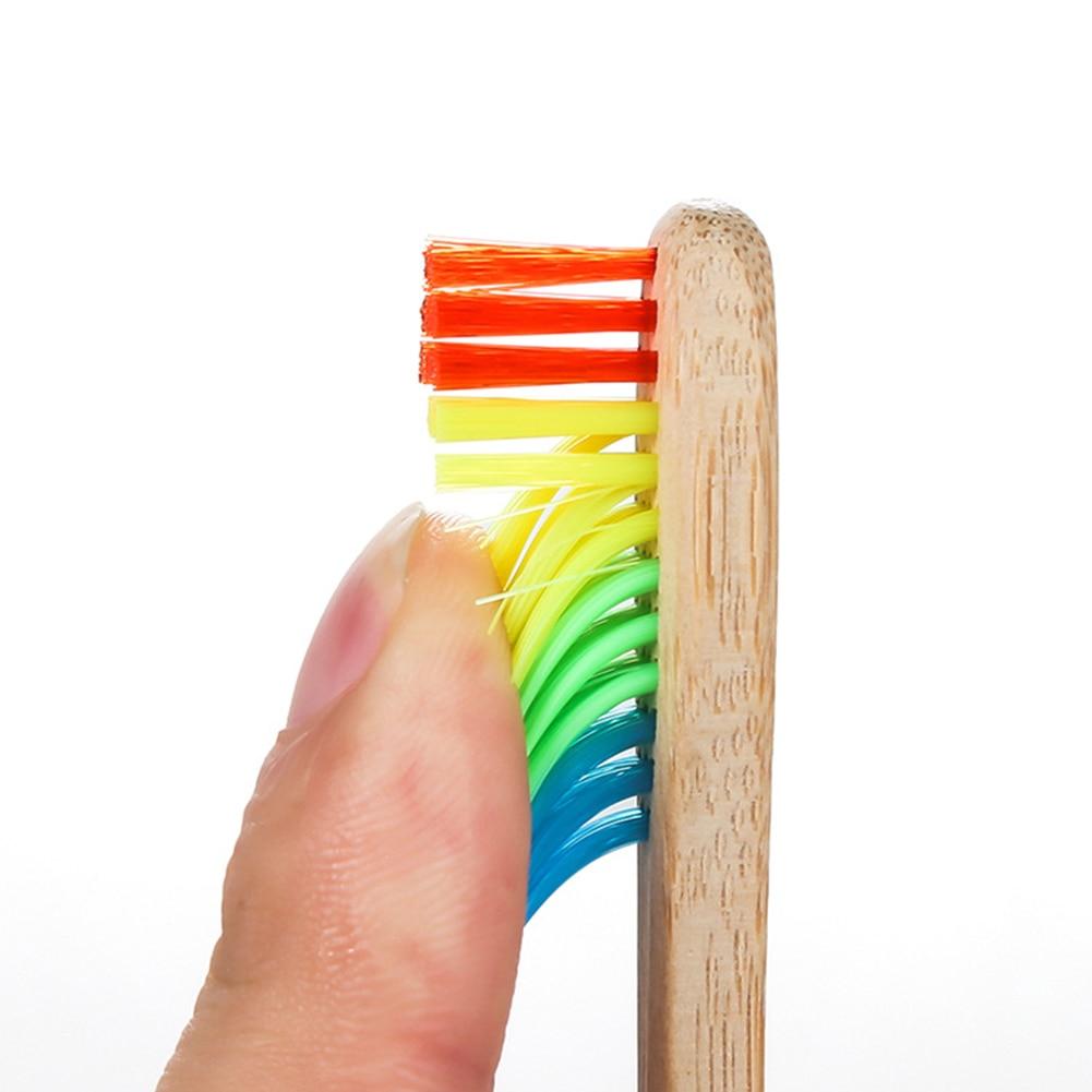 10pcs New Rainbow Bamboo Toothbrush Set Soft Bristle Charcoal Teeth Whitening Bamboo Toothbrushes Soft Bristle Dental Oral Care in Toothbrushes from Beauty Health