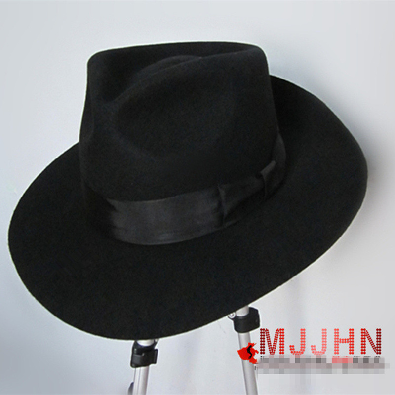 944f02218 US $41.99 30% OFF|MJ Michael Jackson Billie Jean With Name Black FEDORA  Wool Hat Trilby Collection for Performance Party Show Imitation Gift-in  Men's ...