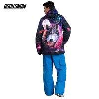 GSOU SNOW Brand лыжный костюм Для мужчин сноуборд зимняя Лыжный Спорт куртки Сноубординг брюки Водонепроницаемый дешевые мужской спортивный зимн
