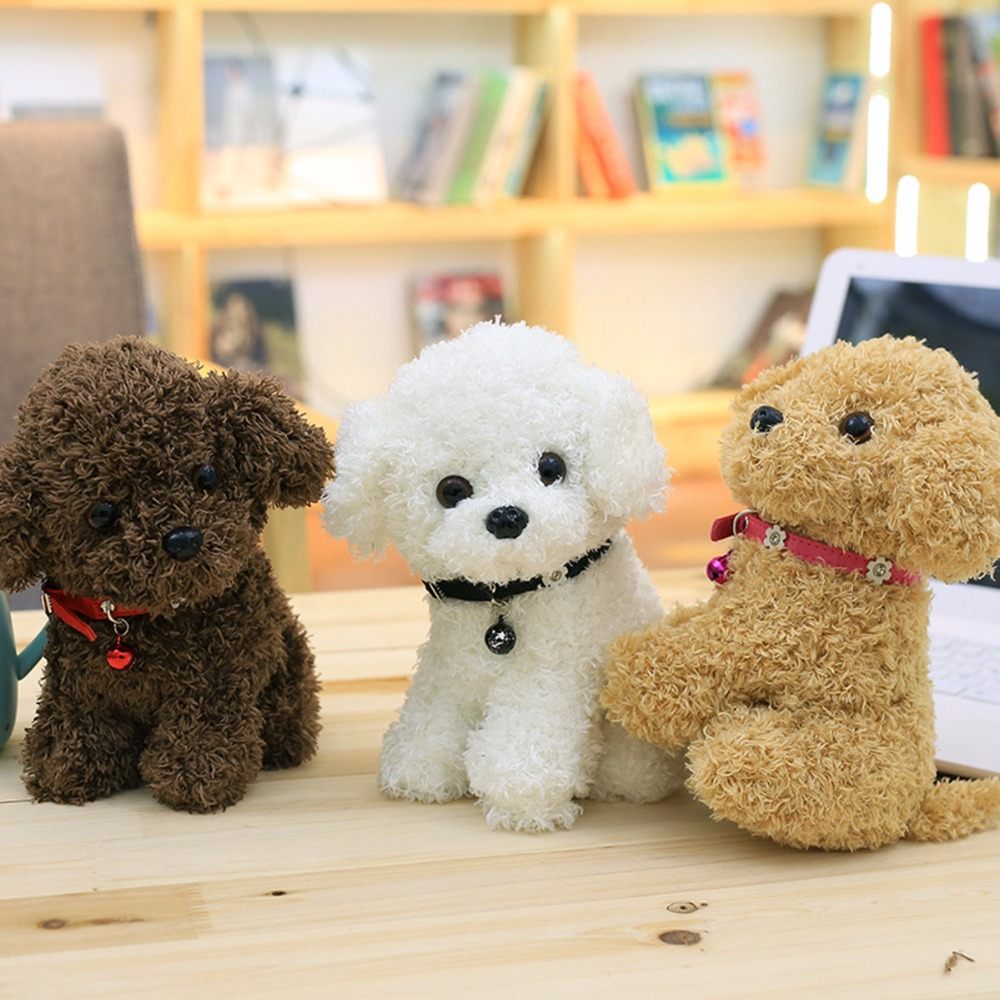 22CM small fluffy puppy plush toy bells teddy dog plush toys soft kids dolls children's toys birthday new year gift decoration teddy bichon guibin pet dog house small zize