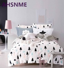 AHSNME 100% Cotton Bedlinen Luxury bedclothes King Queen double size bedcover cactus / pine duvet cover pillowcase bedding set(China)