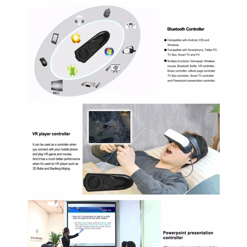 Bluetooth Gamepad VR Controller iOS Android phone Joystick Selfie Shutter Remote Control for Phone PC TV box Smart TV 10