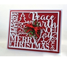 Peace on earth Words with Rectangle Frame Metal Cutting Dies for Scrapbooking DIY Album Christmas Cards Craft Stencil New 2019