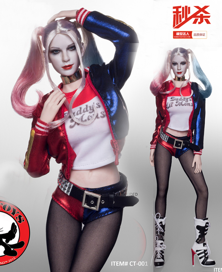 1/6 scale figure doll clothes with head for 12 Action figure doll accessories,female joker Harley Quinn.not include doll body 1 6 scale figure doll clothes male batman joker suit for 12 action figure doll accessories not include doll and other 1584