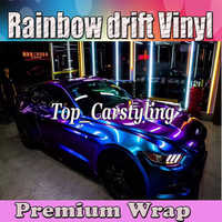 Blue Purple Gloss rainbow Shift Vinyl Car wrap styling shift covering Foil Color flow Film With Air bubble Free 1.52x20m 5x67ft