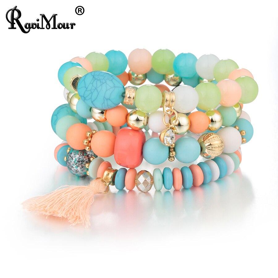 ravimour bohemian women bracelet femme jewelry tassel charm bracelets bangles set boho bead. Black Bedroom Furniture Sets. Home Design Ideas