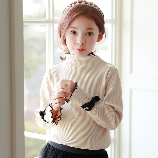 6897eb179b6 Korean knitting school big baby girl sweaters 2018 spring autumn children  knitted sweater long sleeve girls clothing fashion