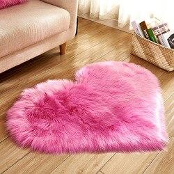 Love Heart Shaped Faux Wool Carpet Cushion Sofa Shaggy Rug Plush Floor Mat Carpets for Living Room Wedding Party Christmas Decor