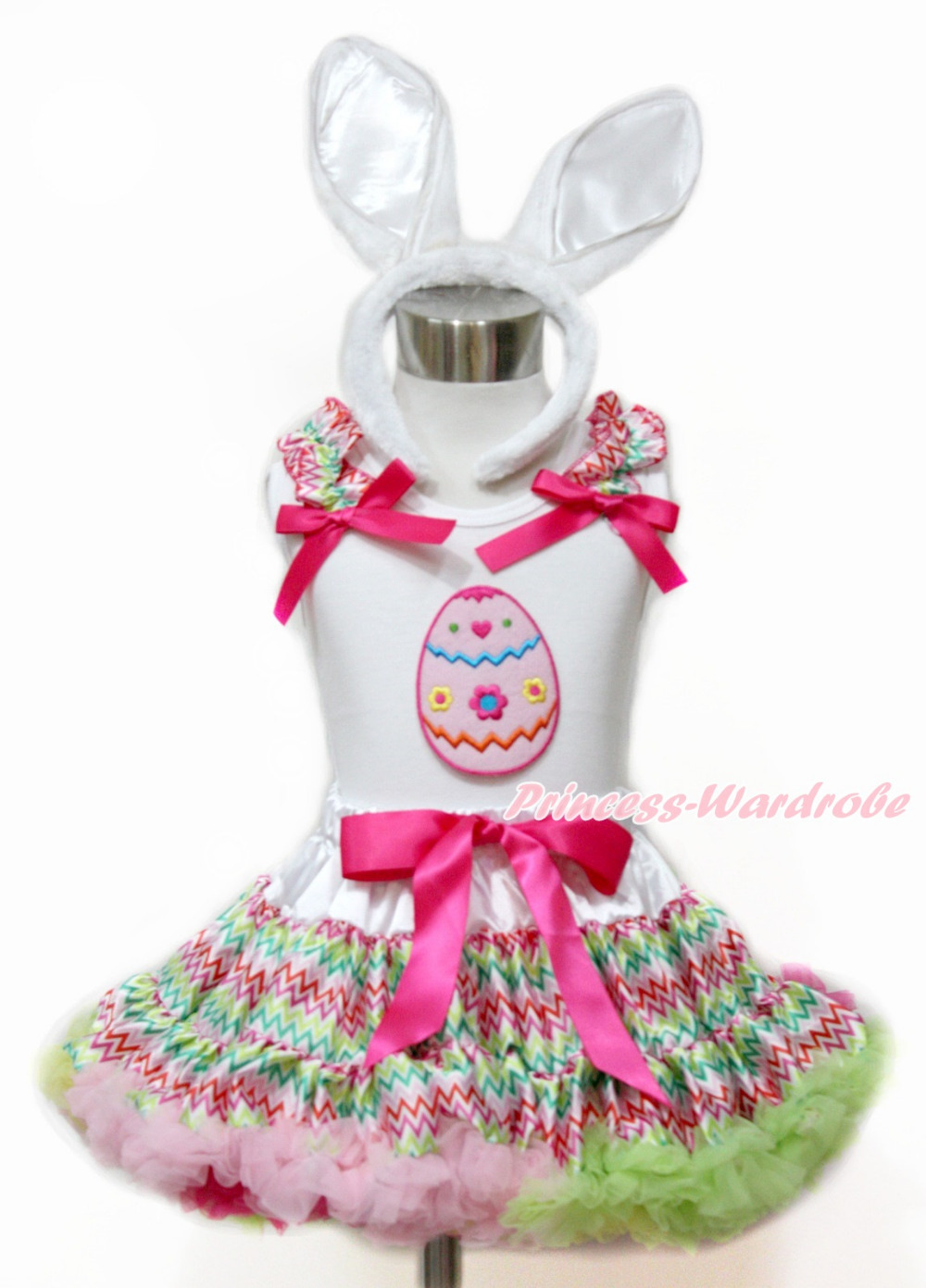 Easter Egg White Top Easter Rainbow Stripe Baby Girl Pettiskirt Tutu Set 1-8Y MAMG1101 цена и фото