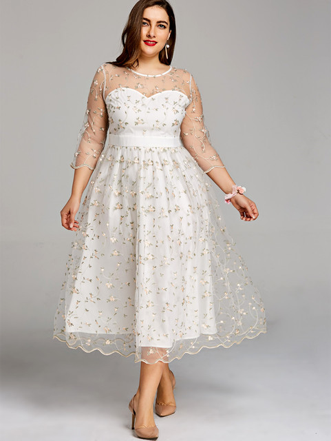 57da11ab811ce4 Gamiss kobiety sukienka na imprezę Plus rozmiar 5XL kwiatowy haft Midi  Tulle sukienka zapiekanka krawędzi elegancki