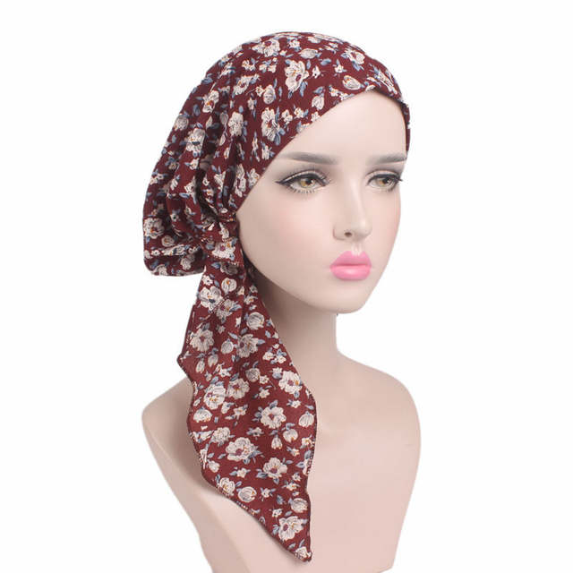 22bf48f54ff placeholder 2018 New Women Floral Turban Hat India Cap Hairnet Muslims  Chemo Cap Flower Fold Beanies Chemotherapy