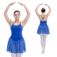 Retail Ready To Ship Yellow Cotton Lycra Leotard With Chiffion Skirts For Ballet Performance