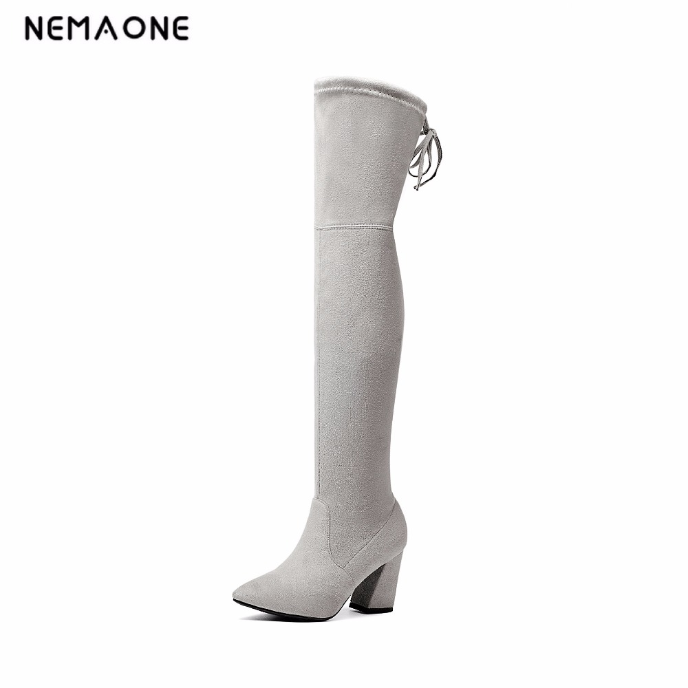 NEMAONE 2019 Womens Faux Suede Over the Knee Flat Boots Comfortable Slouchy Thigh High Boots Black Gray Wine Red Nude