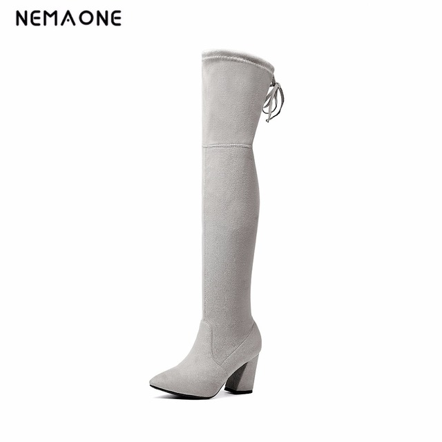 7865c5e9fe1 NEMAONE 2019 Womens Faux Suede Over the Knee Flat Boots Comfortable Slouchy Thigh  High Boots Black Gray Wine Red Nude