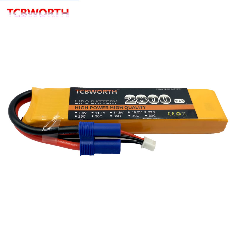 New 2S Battery 7.4V 2800mAh 60C 2S RC LiPo battery For RC Airplane Quadrotor Helicopter Drone Car High Rate Battery LiPo Max120C(China)