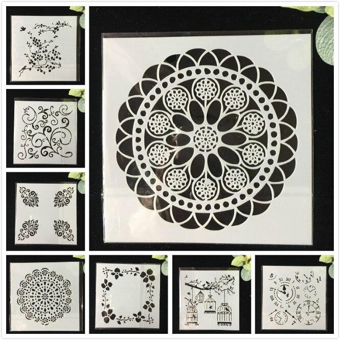 8Pcs/Pack 13cm Wheel Clock DIY  Layering Stencils Wall Painting Scrapbook Coloring Embossing Album Decorative Template