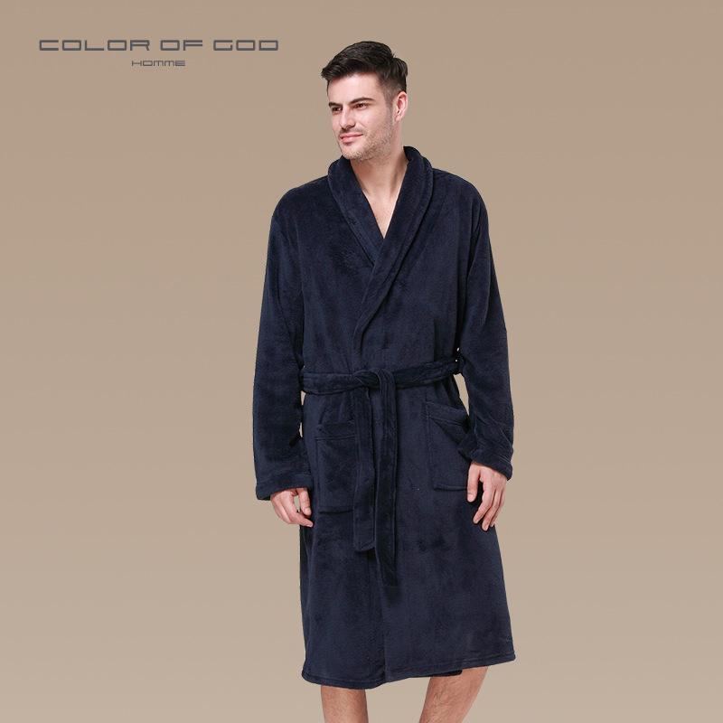 dbd3a2e041 Winter Men Flannel Bathrobe Lapel Thick Bath Robe Belt Pajamas For Men  Comfort Pijama Hombre Badjas Long sleeve Kimono Sleepwear-in Robes from  Underwear ...