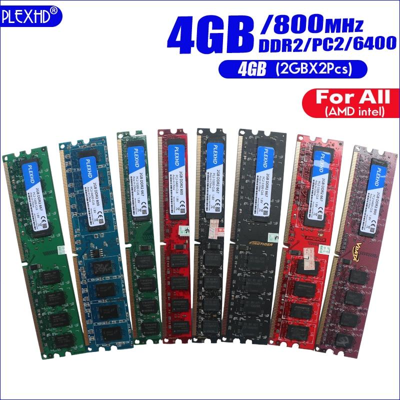 PLEXHD 4G 4GB(2GBX2pcs) DDR2 pc2 6400 800Mhz For Desktop PC pc2-6400 ddr2 800 MHZ (For intel amd) High Compatible 3