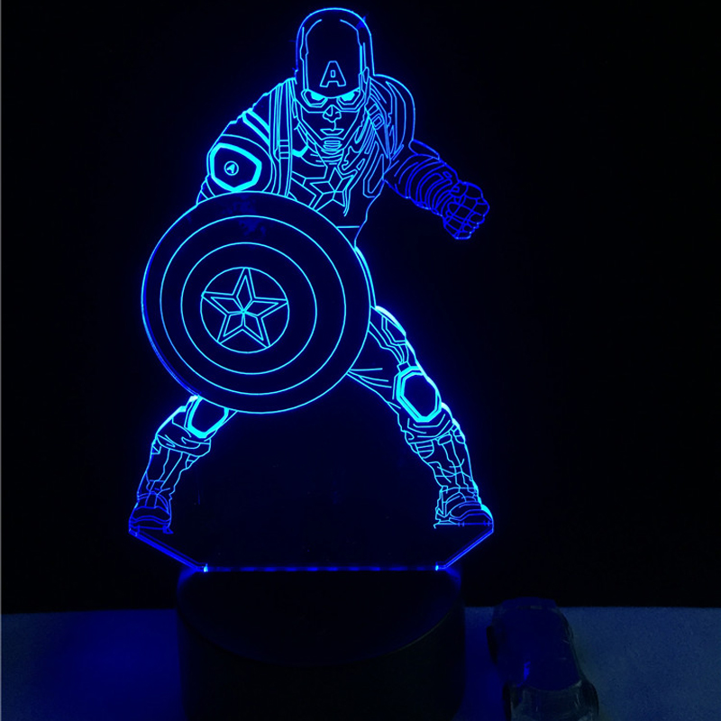 Movie Captain America Shield Figure 3D Multicolor Change Acrylic table night light LED illusion Touch USB lamp Boy kids toy Gift free shipping 1piece new arrive marvel anti hero deadpool figure light handmade 3d bulbing illusion lamp led mood light for kid