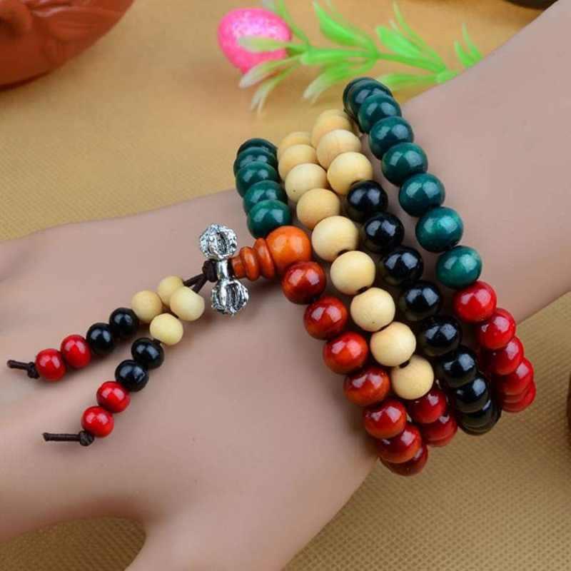 108 cuentas 6mm 8mm Natural sándalo budista Buda madera oración cuenta Mala Unisex hombres pulseras y brazaletes joyería bijoux