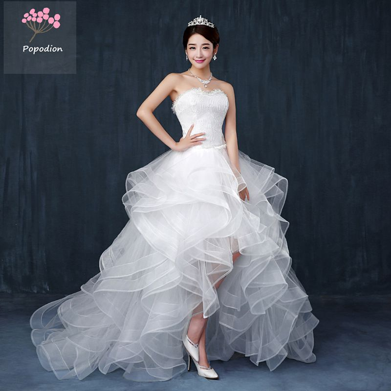 Buy strapless wedding dress sexy short for Strapless wedding dresses with long trains