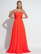 Neue A-linie U-ausschnitt Lange Chiffon Abendkleid Kleid Kristalle 2015 Bodenlangen Flügelärmeln Frauen Abend Formale Kleid F2005