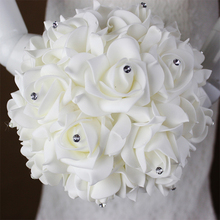 2018 Beautiful White Ivory Bridal Bridesmaid Flower Wedding Bouquet Artificial Flower Rose Bouquet Crystal Bridal Bouquets