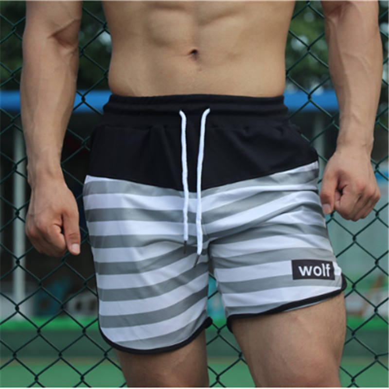 Men's brand   shorts   bodybuilding quick dry   board     shorts   suit summer men's gyms fitness beach casual   shorts
