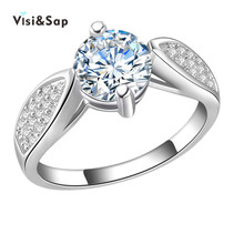 Visisap White Gold color Icedout Rings For Women vintage Wedding Finger ring AAA cubic zirconia Jewelry Supplier Factory VSR185