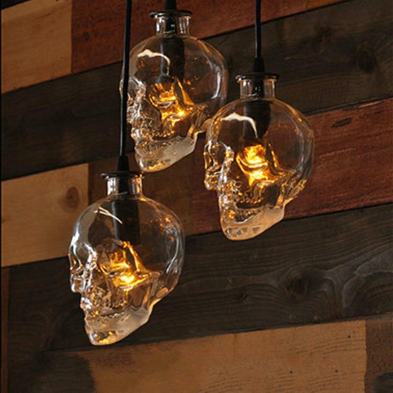Rétro personnalité bar art décoration lampe restaurant bar verre pendentif lumières créatif crâne café ZP5041450