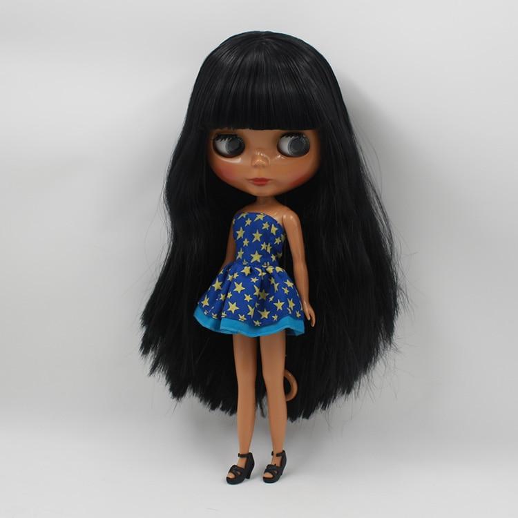 12 Fashion Dolls Mini Black Blyth Nude doll Black Long Hair With Bangs DIY Makeup Doll Girls Gifts 28 5cm mini nude doll blyth bjd doll doll blonde long hair with bangs modified diy doll girls favorite fashion doll