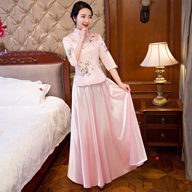 Rosa Bordado verano vestido largo cheongsam Chinoise tradicional ...