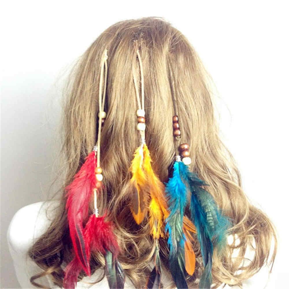 Новые женские Девушки обруч для волос с орнаментами BB клип акссесуар для волос индийские перья Стиль повязка на голову с перьями волосы кисточки аксессуары для волос